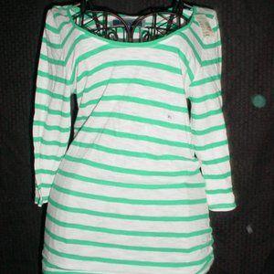 AMERICAN EAGLE NWT Green Stripes Blouse XL